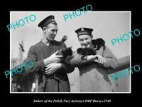 OLD LARGE HISTORIC PHOTO POLAND MILITARY POLISH NAVY SAILORS ORP BURZA c1940