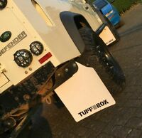 LandRover Def110 Full vehicle mud flap set gloss white Tuff-rok extended wider