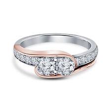 Cut Diamond Promise Wedding Ring Rose Tone Gold Finish Two-Stone Round