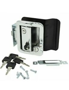 Chrome RV Paddle Entry Door Lock Latch | Handle Knob | Deadbolt Lock | Camper
