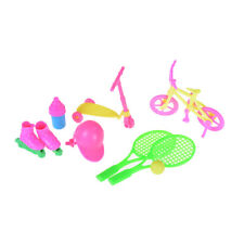 1Set Bicycle Tennis Skating Shoes Helmet Sport Accessory For Barbie House New.