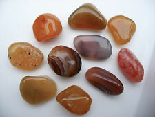 10 x CARNELIAN RIVER RED 18mm - 21mm CRYSTAL TUMBLESTONES POLISHED STONES PEBBLE