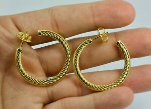 David Yurman 18k Yellow Gold Crossover Cable Hoop Earrings 1.25 Inches Wide