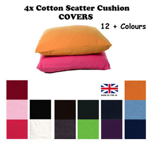 4x COVERS Scatter Cushion COTTON Seat Sofa Couch Bench Pillow Fire retardant UK