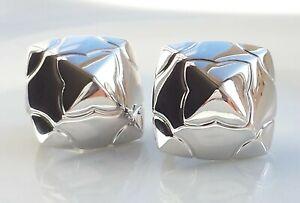 Bulgari Bvlgari 18K White Gold Pyramid Earrings Ear Clips w. Original Posts BOX
