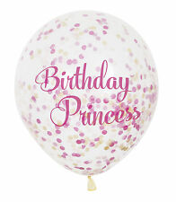 "6 x Confetti Balloons - ""Birthday Princess"" Party Girls Pink Latex"
