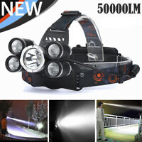 50000LM LED Headlamp 5 Head XM-L T6 18650 Headlight Flashlight Torch Light
