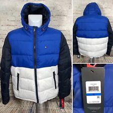 Tommy Hilfiger Blue White Puffer Jacket Ultra Loft Hooded...
