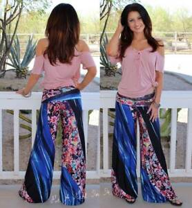 """J UP FOLD OVER BLUE PINK FLORAL """"CHERRY BLOSSOM"""" USA YOGA PALAZZO PANTS S M L"""