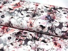 Jersey Stoff Baumwolljersey Blumen Digitaldruck hellgrau rosa Meterware 14936