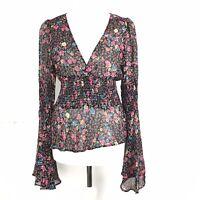 KOOKAI Vintage 90s Y2K 00s Black Floral Boho Fluted Sleeve Gypsy Sheer Top 8/10