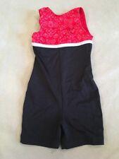 Gk Elite Leotard Child Small Biketard Shorts Red Paisley Black Silver Gymnastics