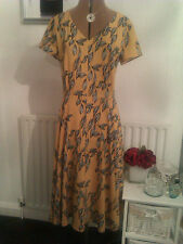 Laura Ashley size 12 gorgeous light mustard multi full skirt dress