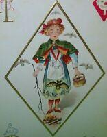 Vintage Halloween Postcard Nash H13 Embossed Gold Diamond Girl Original Unused