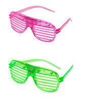 1 Green 1 Pink Flashing LED Shutter Glasses Light Up Slotted Party Glow Shades