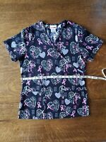 Women's Breast Cancer Scrub Top Size XS Black with Pink Ribbons PRETTY!