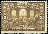 1917 Mint H Canada F Scott #135 3c 50th Anniversary Issue Stamp