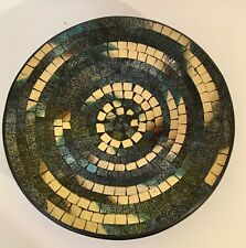 Mosaic Tile Bowl Black Blue Gold Large