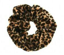 Brown Leopard Animal Print 4cm Large Velvet Hair Band Scrunchie Ponytail