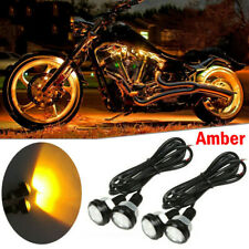 2 Pair Small Amber LED Black DOME Motorcycle-Chopper-Bobber Turn Signal Lights