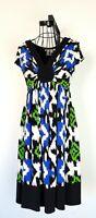 Maggy London Black/Blue/Green Sheath Dress V-Neck Short Sleeve Beads Size 6