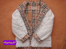 Authentic Burberry Nova Check Quilted White Jacket / Coat Children Size 12 Year