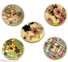 100 Mixed Wood Painting Sewing Buttons 15mm B12322