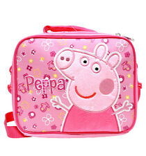 New Peppa Pig Girls Canvas Pink Insulated School Lunch Bag/Box
