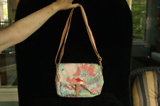 NEW WITH TAG OILILY COLORFUL FLORAL PATTERN FABRIC PURSE PEACH ROSE SHOULDER BAG