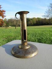 """Vintage 19th Cent. Primitive Tin Hog Scraper Candle Holder, 5 1/4"""", Signed Haw'S"""