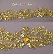 "Handmade Floral Corded beaded Edging Motif trim 1 1/2"" width Metallic Gold  #5"