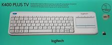 Logitech K400 Plus TV tactile Clavier sans fil,blanc QWERTY de-layout - NEW &