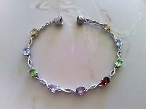 MULTI GEMSTONE PLATINUM BONDED STAINLESS STEEL BRACELET WITH MAGNETIC CLASP