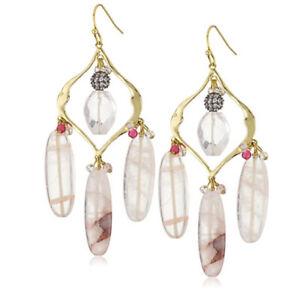 """Lee Angel """"Dakota"""" Beige Agate Semi Precious Triple Teardrop Earrings.  K87"""