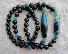 Ladies  Men's Onyx  Agate  Bracelet with Tibetan Silver - Single or Set of 2.