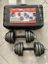 Brand New York 60lb Adjustable Dumbbell Weight Set Cast Iron Plates No Reserve!