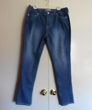 Encore Women's Light Blue Denim Distressed Stretch Jeans XL (36W X 32L)
