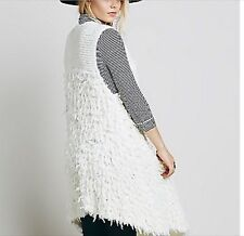 Free People Rolling Stone Furry Vest Ivory S $148 New
