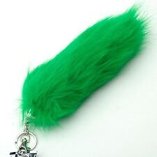 "NEW FAUX FUR TASSEL PURSE RING CHARM ~ 9"" GREEN FOX TAIL KEY CHAIN W/ CLIP YW14S"