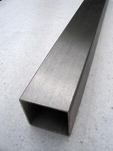 Edelstahl-Vierkant-Rohr-Quadratrohr V2A 25 x 25 x 2,0 L=1000 mm geschliffen K240