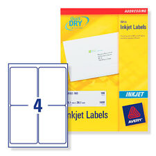 AVERY J8169-100 INKJET PRINTER LABELS 4 PER A4 SHEET