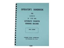 Landis 16 Type 4rh Crankpin Grinding Machine Operators Handbook Manual 1081