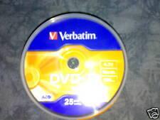 25 DVD-R VERBATIM 4.7 GB, 16X SPEED VITESSE, 120MIN