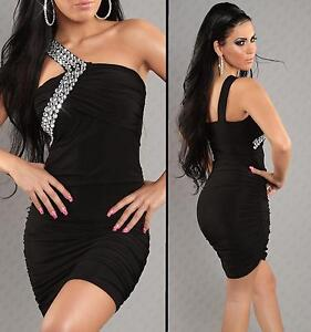 Womens Sexy Black Embellished One Shoulder Bodycon Party Mini Dress size 8 10