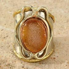 New Tara Mesa Yellow Drusy Quartz Knuckle Ring ~ Size 8 Adjustable