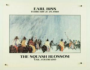 "vtg 1980 EARL BISS fine art poster print The Squash Blossom Vail Colorado 22x17"""