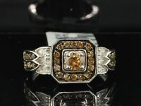 Ladies 10K White Gold .68 Ct. Round Cut Champagne Brown Diamond Engagement Ring