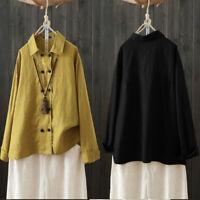 ZANZEA Femme 100% coton Loisir Revers Coton Manche Longue Chemise Haut Tops Plus