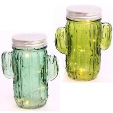 2 X CACTUS LED JAR DECORATION FAIRY GIFT 15CM JAM MASON FESTIVE GLASS BATTERY