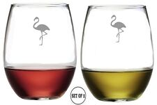 FLAMINGO Set Of 2 Etched Stemless Red White Rose Wine Glass Monogrammed Engraved